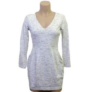 Dynamite white v neck long sleeve mini dress Small